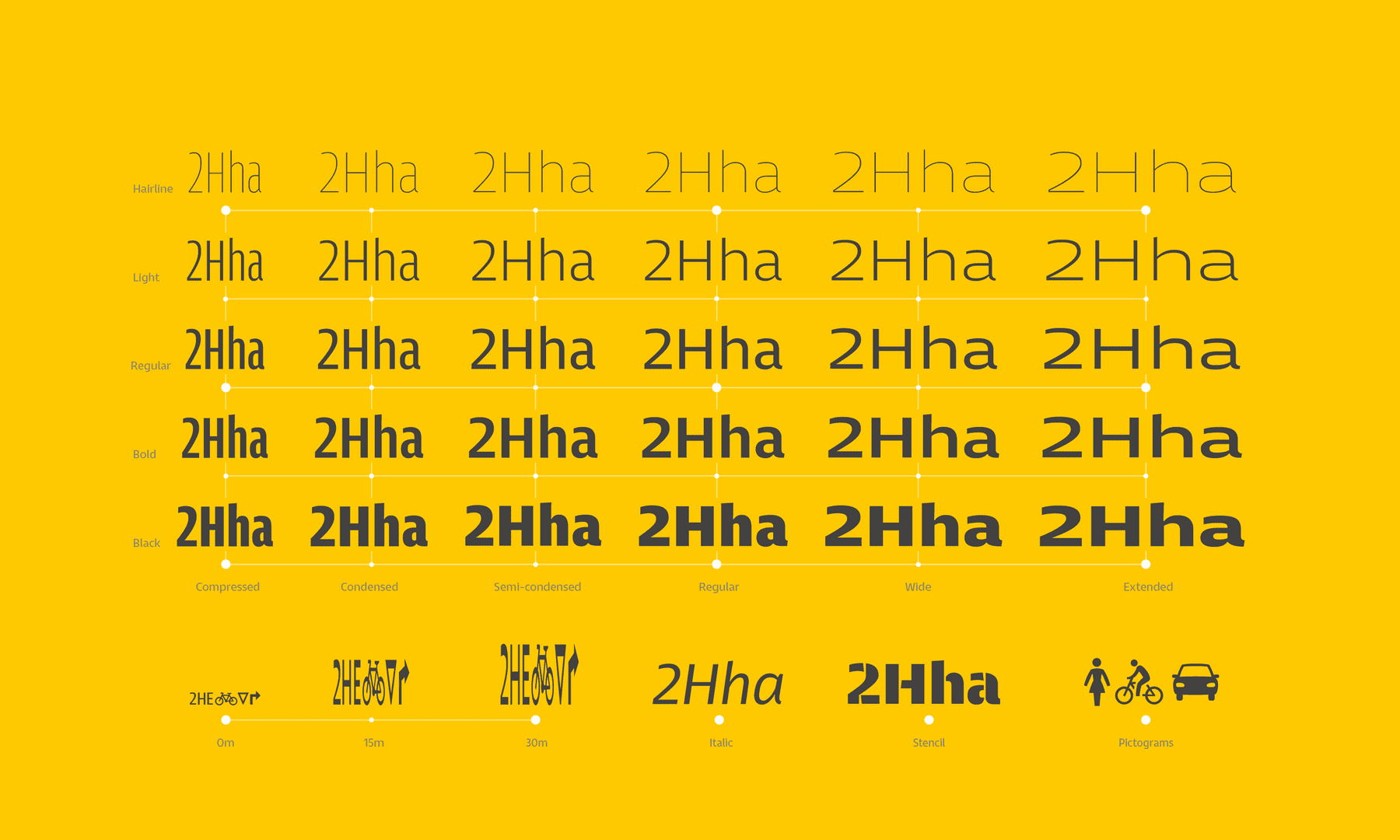 Entorno Typeface Family, chart of styles