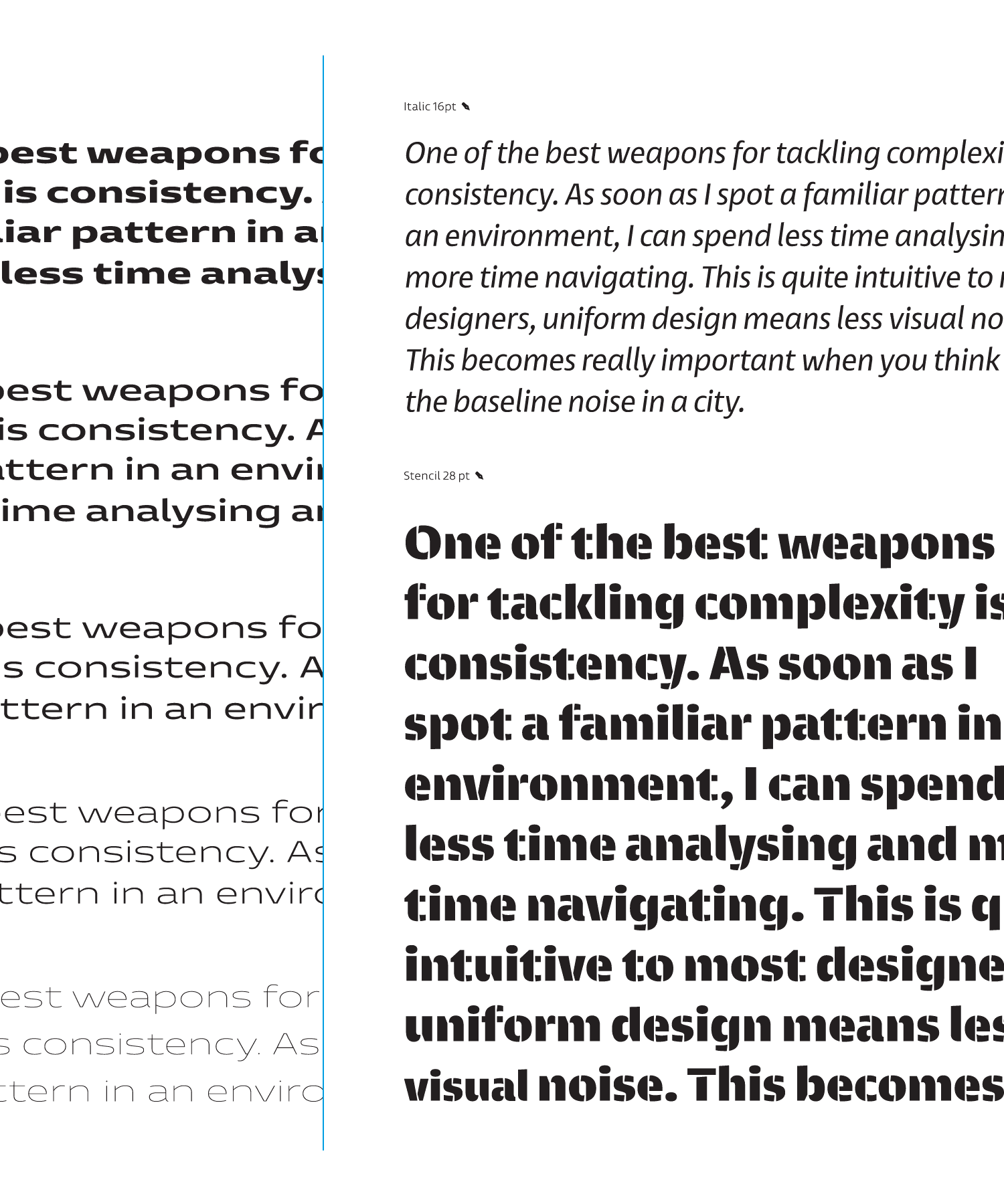 Entorno, text examples showing italic and stencil styles