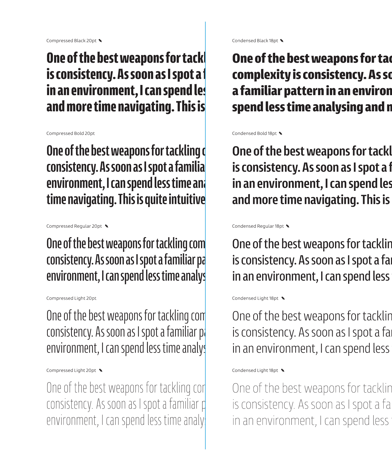 Entorno, text examples using compresed and condensed styles from hairline to black weight