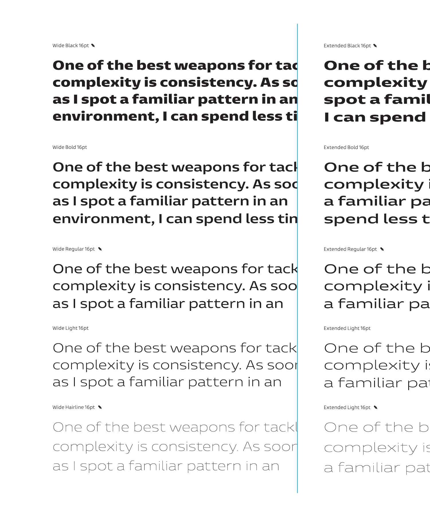 Entorno, text examples showing wide and extended styles from hairline to black weight