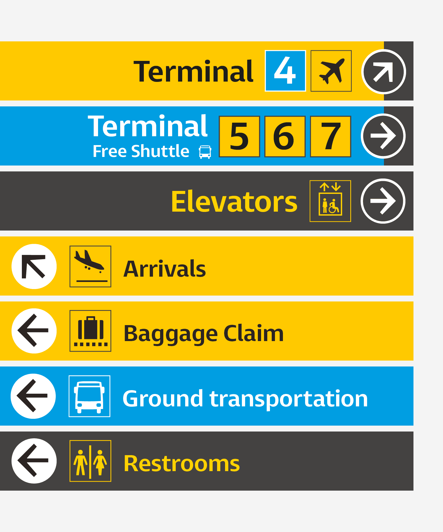 Airport signs using Entorno
